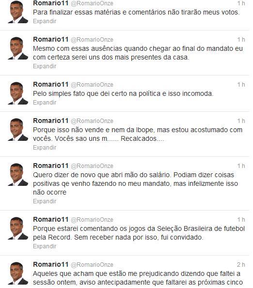 Twitter: Resposta do Romário àqueles que criticaram sua ida a Londres